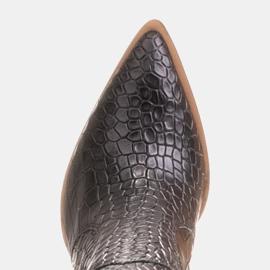 Marco Shoes Wysokie kozaki damskie kowbojki, motyw croco czarne 7