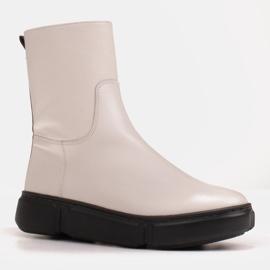 Marco Shoes Sportowe białe botki z miękkiej skóry naturalnej 2