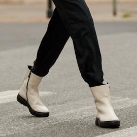 Marco Shoes Sportowe białe botki z miękkiej skóry naturalnej 1