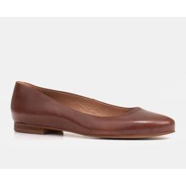 Marco Shoes Baleriny z brązowej skóry licowej ręcznie polerowanej 1