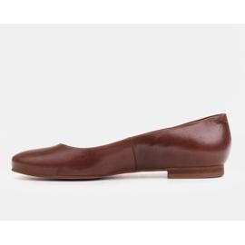 Marco Shoes Baleriny z brązowej skóry licowej ręcznie polerowanej 2