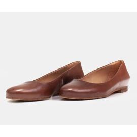 Marco Shoes Baleriny z brązowej skóry licowej ręcznie polerowanej 6