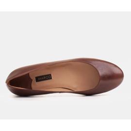 Marco Shoes Baleriny z brązowej skóry licowej ręcznie polerowanej 4