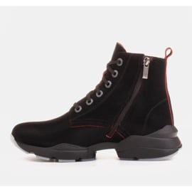 Marco Shoes Sportowe botki damskie z nubuku z czerwonymi wstawkami czarne 2