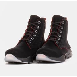 Marco Shoes Sportowe botki damskie z nubuku z czerwonymi wstawkami czarne 3