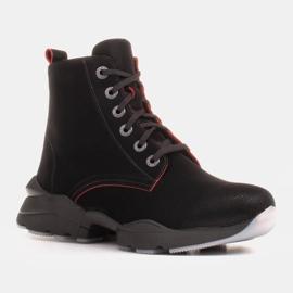 Marco Shoes Sportowe botki damskie z nubuku z czerwonymi wstawkami czarne 6