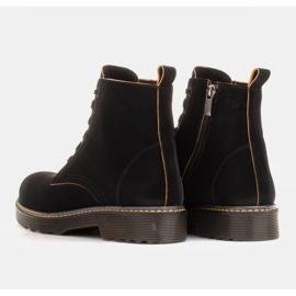 Marco Shoes Wysokie trzewiki, glany wiązane na półprzeźroczystej podeszwie czarne 5