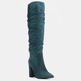 Marco Shoes Wysokie, marszczone kozaki zielone z naturalnego zamszu 1