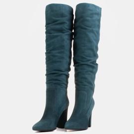Marco Shoes Wysokie, marszczone kozaki zielone z naturalnego zamszu 5