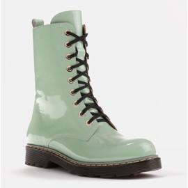 Marco Shoes Wysokie trzewiki, glany wiązane na półprzeźroczystej podeszwie zielone 1