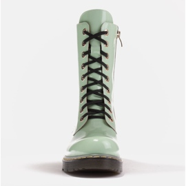 Marco Shoes Wysokie trzewiki, glany wiązane na półprzeźroczystej podeszwie zielone 2