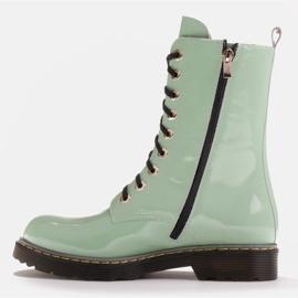 Marco Shoes Wysokie trzewiki, glany wiązane na półprzeźroczystej podeszwie zielone 3