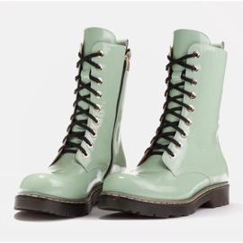 Marco Shoes Wysokie trzewiki, glany wiązane na półprzeźroczystej podeszwie zielone 4