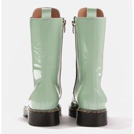 Marco Shoes Wysokie trzewiki, glany wiązane na półprzeźroczystej podeszwie zielone 5