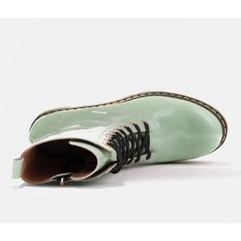 Marco Shoes Wysokie trzewiki, glany wiązane na półprzeźroczystej podeszwie zielone 7