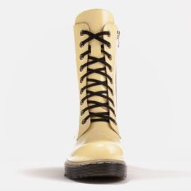 Marco Shoes Wysokie trzewiki, glany wiązane na półprzeźroczystej podeszwie żółte 2