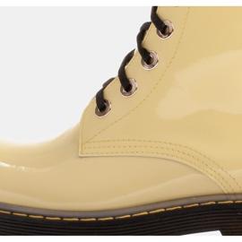 Marco Shoes Wysokie trzewiki, glany wiązane na półprzeźroczystej podeszwie żółte 6