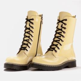 Marco Shoes Wysokie trzewiki, glany wiązane na półprzeźroczystej podeszwie żółte 4