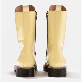 Marco Shoes Wysokie trzewiki, glany wiązane na półprzeźroczystej podeszwie żółte 5