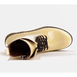 Marco Shoes Wysokie trzewiki, glany wiązane na półprzeźroczystej podeszwie żółte 7