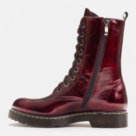 Marco Shoes Wysokie trzewiki, glany wiązane na półprzeźroczystej podeszwie czerwone 3