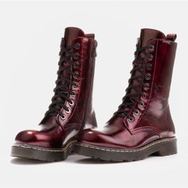 Marco Shoes Wysokie trzewiki, glany wiązane na półprzeźroczystej podeszwie czerwone 4