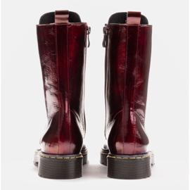Marco Shoes Wysokie trzewiki, glany wiązane na półprzeźroczystej podeszwie czerwone 5