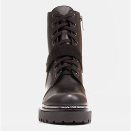 Marco Shoes Botki damskie z ciekawym, grubym spodem czarne 2