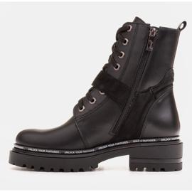 Marco Shoes Botki damskie z ciekawym, grubym spodem czarne 3