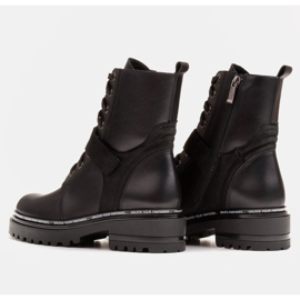 Marco Shoes Botki damskie z ciekawym, grubym spodem czarne 4