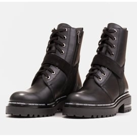 Marco Shoes Botki damskie z ciekawym, grubym spodem czarne 5