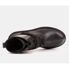 Marco Shoes Botki damskie z ciekawym, grubym spodem czarne 6