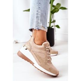 PE1 Sneakersy Na Koturnie Beżowe Temida beżowy 4