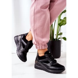 PE1 Sneakersy Na Koturnie Czarne Temida 2