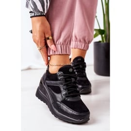 PE1 Sneakersy Na Koturnie Czarne Temida 1
