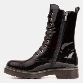 Marco Shoes Wysokie trzewiki, glany wiązane na półprzeźroczystej podeszwie czarne 4