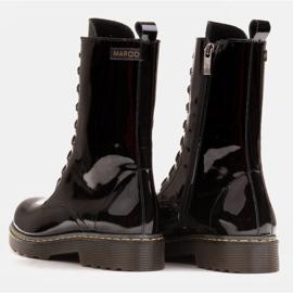Marco Shoes Wysokie trzewiki, glany wiązane na półprzeźroczystej podeszwie czarne 6