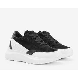 Czarne sneakersy z białymi dodatkami na wysokiej podeszwie Barteks białe 1
