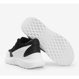 Czarne sneakersy z białymi dodatkami na wysokiej podeszwie Barteks białe 2