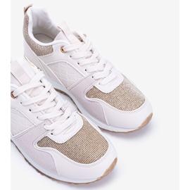 Beżowe sneakersy z złotymi dodatkami Yoisya beżowy 2