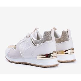 Beżowe sneakersy z złotymi dodatkami Yoisya beżowy 3