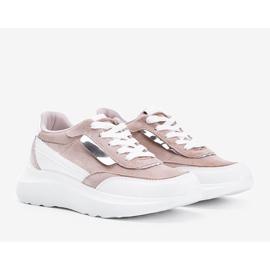 Beżowe sneakersy na grubej podeszwie Hella beżowy białe khaki 1