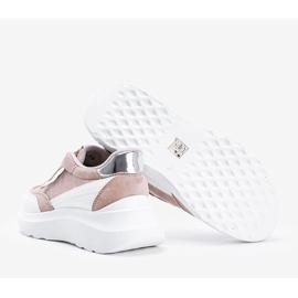 Beżowe sneakersy na grubej podeszwie Hella beżowy białe khaki 2
