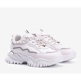 Beżowe sneakersy na grubej podeszwie Desiare beżowy 1