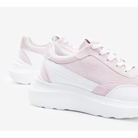 Beżowe sneakersy z białymi dodatkami na wysokiej podeszwie Barteks beżowy białe 1