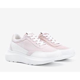 Beżowe sneakersy z białymi dodatkami na wysokiej podeszwie Barteks beżowy białe 2