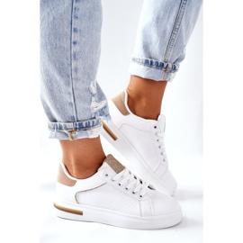 Sportowe Buty Sneakersy Na Platformie Biało-Beżowe Lola beżowy białe 3