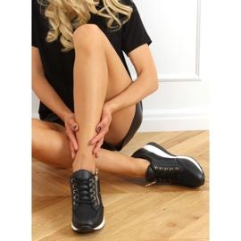 Sneakersy na koturnie czarne Y9521 Black Gold złoty 2