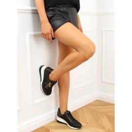 Sneakersy na koturnie czarne Y9521 Black Gold złoty 3