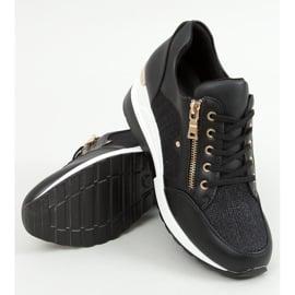 Sneakersy na koturnie czarne Y9521 Black Gold złoty 1